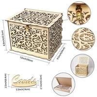 DIY Wedding Gift Storage Card Box Wooden Storage Box with Lock Beautiful Wedding Decoration Supplies for Birthday Party