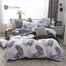 Liv-Esthete Fashion Leaf Feather Bedding Set Soft Duvet Cover Grid Flat Sheet Bedspread Double Queen King Adult kids Bed Linen