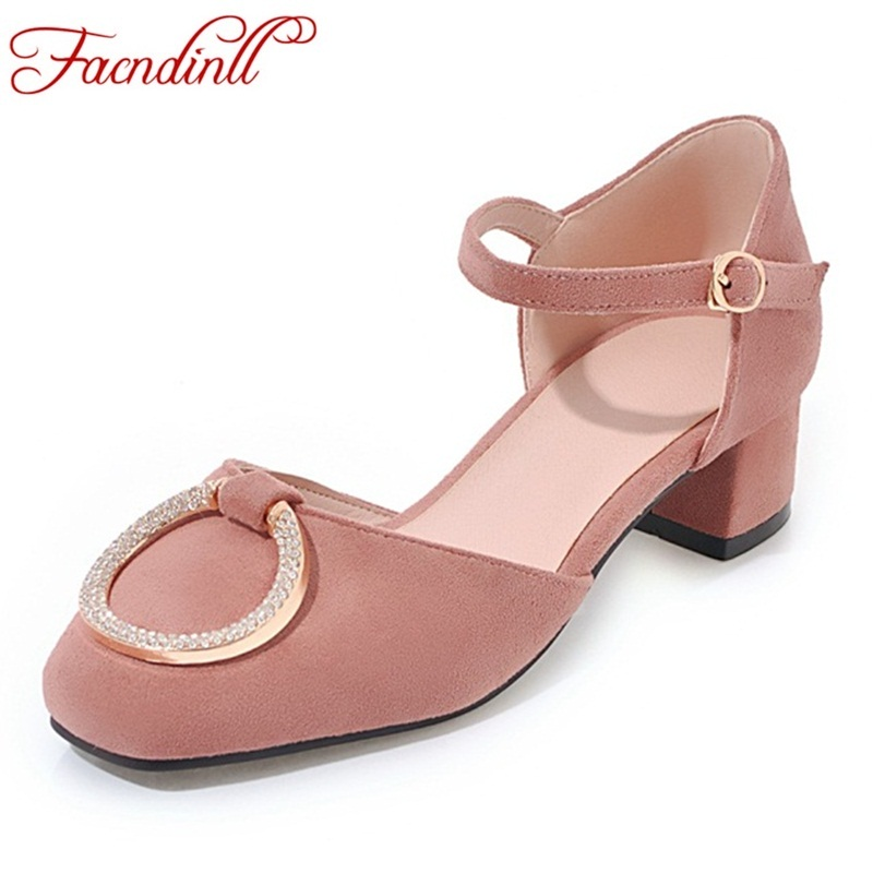 new 2018 summer women shoes fashion square toe ladies pumps dress shoes high heels wedding shoes tenis feminino platform sandals