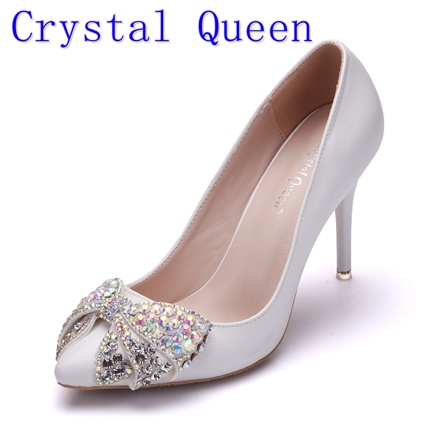 Crystal Queen Spring Autumn Women Pumps Sexy White 9CM High Heels Shoes Bow Luxury Rhinestone Wedding Party Shoes siketu 2017 free shipping spring and autumn women shoes high heels shoes wedding shoes nightclub sex rhinestones pumps g148