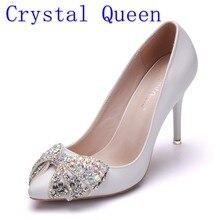 86ed49d3d Rainha de cristal Primavera Outono Mulheres Bombas Brancas Sensuais 9 CM  Sapatos De Salto Alto Arco de Luxo Strass Sapatos de Fe.