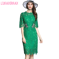 2017 Summer Luxury Brand Runway Dresses High Quality Green Lace Sheath Dress Elegant Beading Office Dress