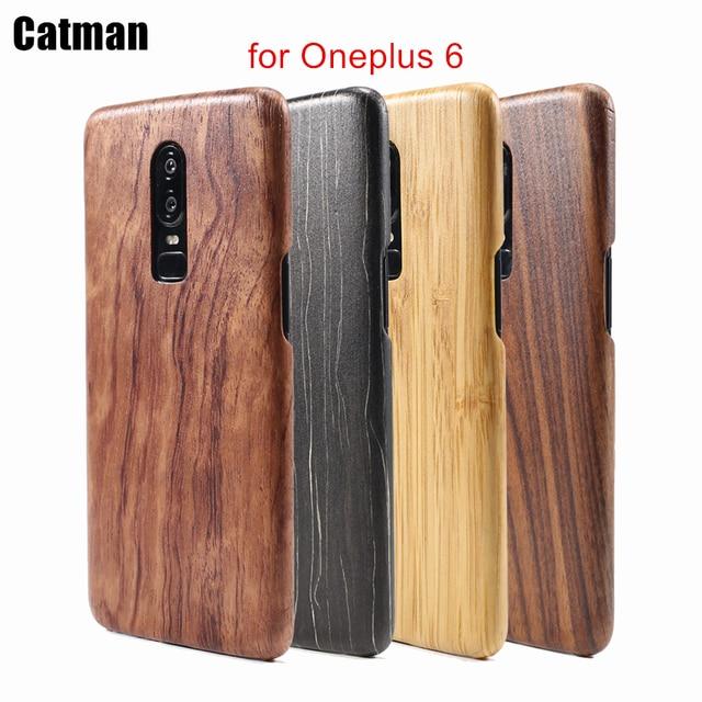 oneplus 6 case catman original genuine real wood funda bamboo
