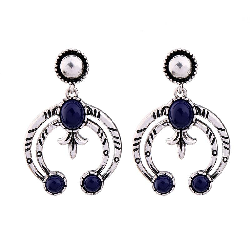 Big Alloy Geometric Pending Vintage Earrings Ali express Indian Jewelry Blue Statement E ...