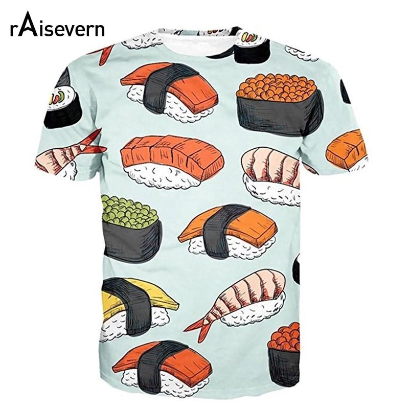 Raisevern Lustige Sushi Druck 3D T Shirt Männer Frauen Unisex nette Essen Gedruckt Summer Cool T Tops Kurzarm Oansatz T-shirt
