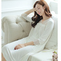100% algodón de Otoño primavera princesa de las mujeres ropa de dormir camisón largo real 3 colores modal pijama camisón de dormir pijamas