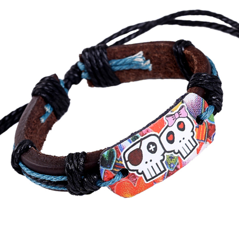 Cute Handmade Retro PU Skull Leather Bracelet Men Women Braslets Friendship Braclets Bracciale Uomo Pulseira de Couro Female