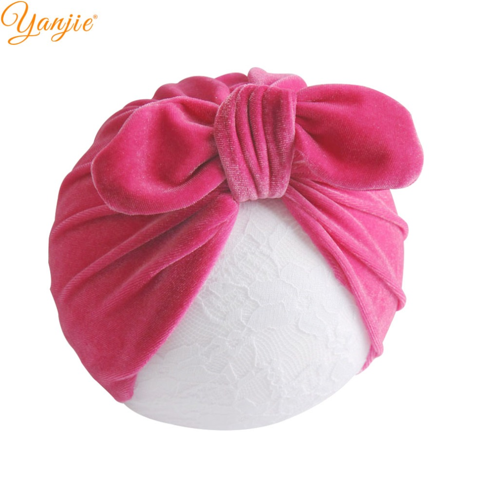 12pcs lot Velvet Knot Bow Head Wrap For Girls 2019 Spring Kids Turban Headbands Bunny Ears
