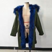 New Mrs fur style Blue long hair fox fur Jacket womens raccoon fur big hood women parka winter parka