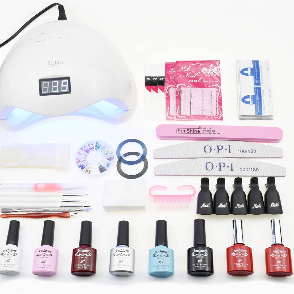 Manicure set 48/50W UV LED Lamp Nail Dryer Set for all Nail gel polish kit 10ml 6 color gel nail polish set 1Top 1Base