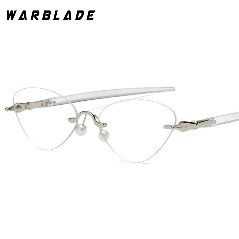 8a53f92a1eb 2018 Hot Sale Eyeglasses Rimless Cat Eye Clear Lens Glass Transparent Eye  Glasses Frames For Women Optical Spectacles Eyewear