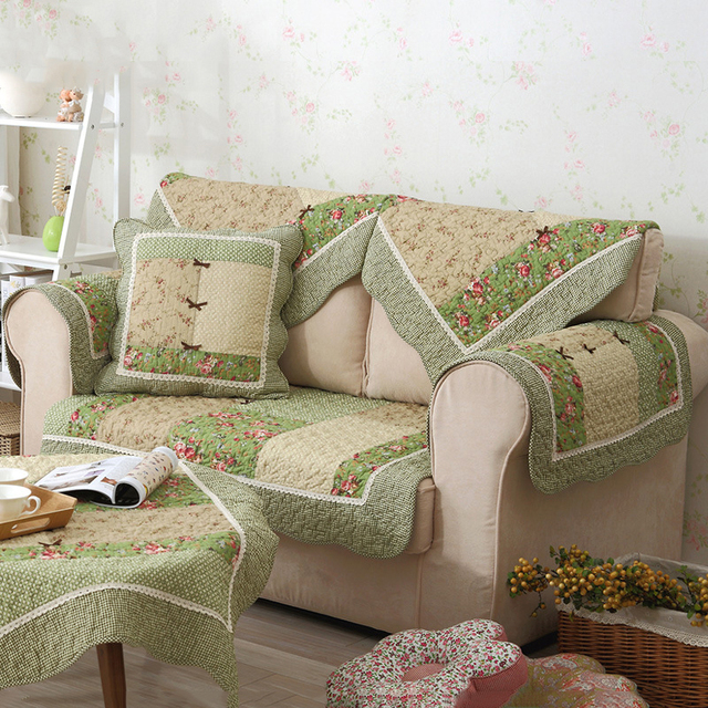 US $12.3 40% OFF|1 Pcs Sofa Cover Cotton Green Floral Printed Hand  Patchwork Quilting Sofa Mat Slip resistant Home Sofa Towel Pastoral  Textile-in Sofa ...
