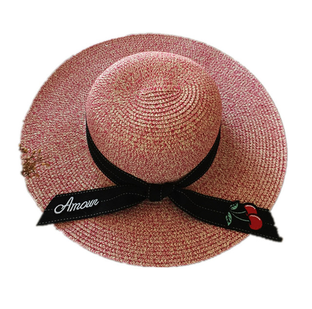 9d2b2a3f076 Letter Cherry Embroidery Bow Straw Hat Lady Sweet Korean Monochrome Plain  Summer Shade Sun Hat UV