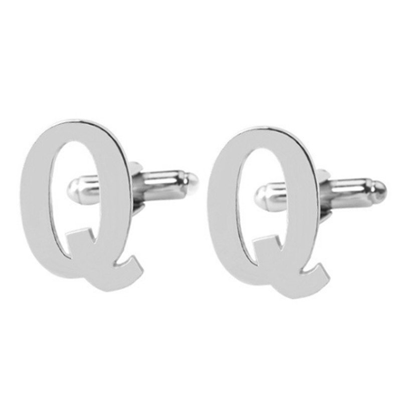 1Pair Mens Cuff Links For Fathers Day Wedding Birthday Gift 26 Initial Alphabet Letter Cufflinks Silver
