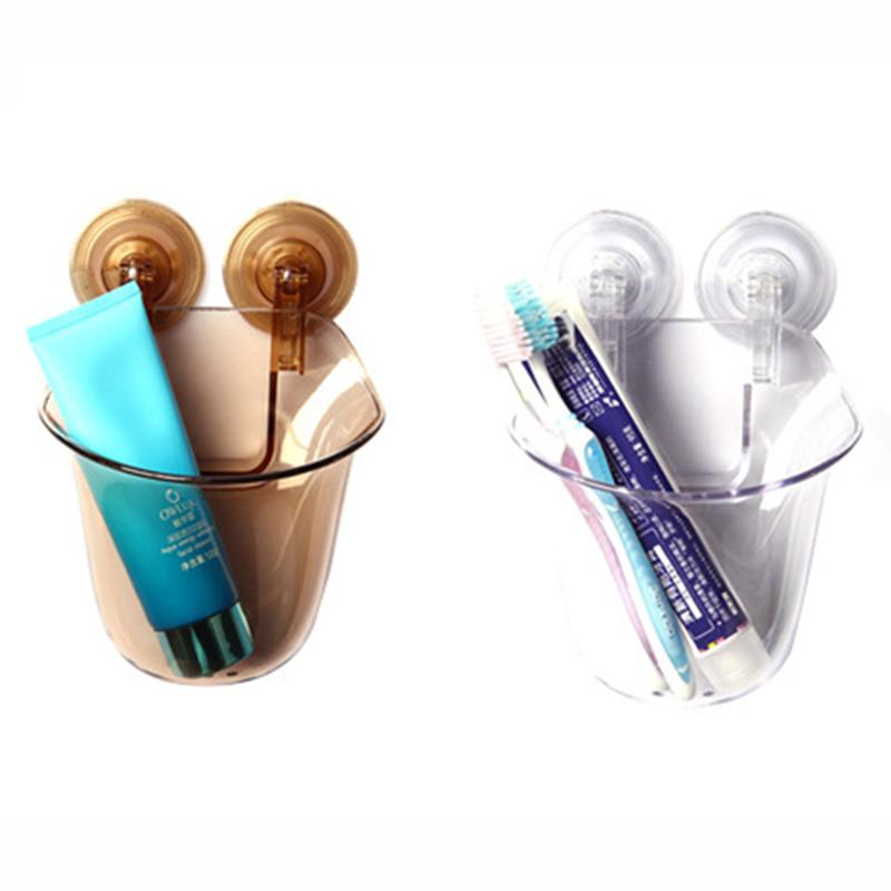 Image 2 - 2Pcs Wall Mounted Suction Cup Toothbrush Holder Shower Razor Toothpaste Mirror Spin Holder For Bathroom(Amber And Transparent)-in Toothbrush & Toothpaste Holders from Home & Garden