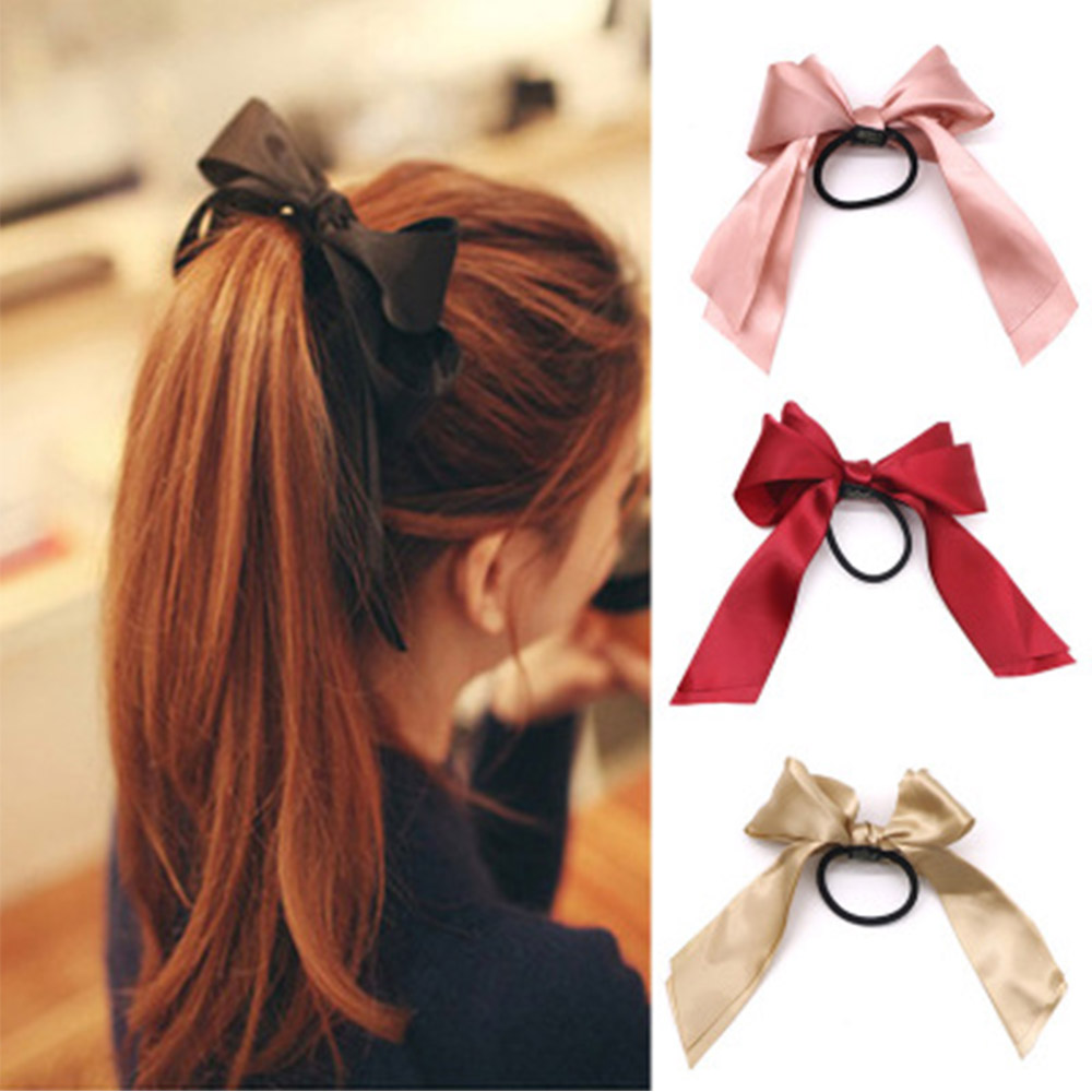Women Rubber Bands Tiara Satin Ribbon Hair Bow Elastic Hair Band Rope Scrunchies Ponytail Holder Gum For Girls Hair Accessories