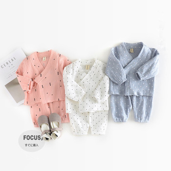 Autumn New Baby Clothes Triangle Stars Dot Print Toddler Girls Clothing Set Japan Baby Boy Clothes 2pcs Cotton Pajamas Suits
