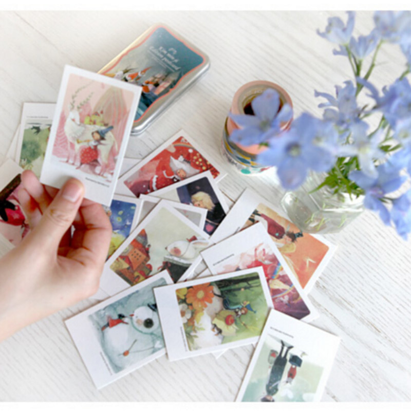 40 pcs/lot Cute Kawaii Paper Postcards With Tin Box Vintage Retro London Paris Alice Italy Greeting Post Cards Free shipping 804