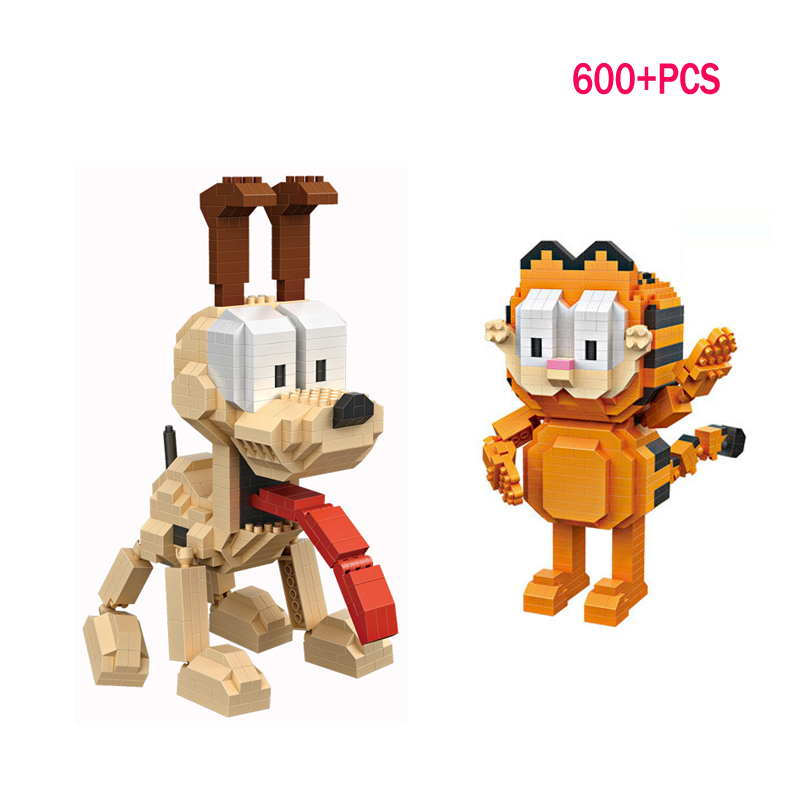 LWKO Garfield Odie Orange Cat Dog Cartoon Character of American Building Diamond Blocks Figure Toy Legoe For Children 14+Ages