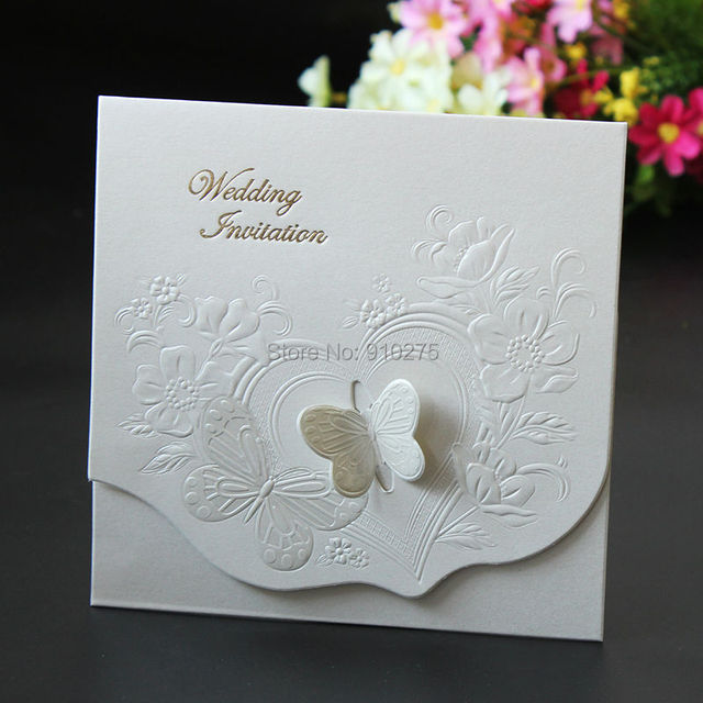 50pcs Retro 3D Butterfly Floral Wedding Invitaions Laser Cut Wedding
