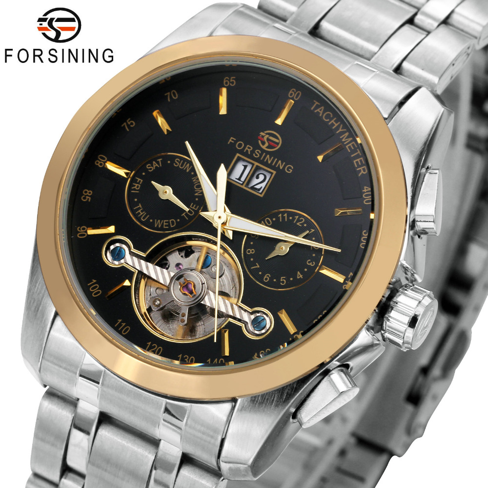 FORSINING 3D Design Men Auto Mechanical Watch Date Calendar Skeleton Stainless-Steel Strap Tourbillon Sub-dial Golden Bezel huhd hw 398 optical fiber 2 4g wireless professional stereo gaming headset for xbox one xbox 360 ps4 ps3