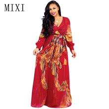 MIXI 2019 Autumn Floral Print Chiffon Long Dress Women V Neck Full Sleeve Belt Vintage Maxi Elegant Evening Party Dresses