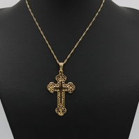 Filigree Womens Mens Cross Pendant Chain Yellow Gold Filled Hollow Crucifix Classic Style Jewelry
