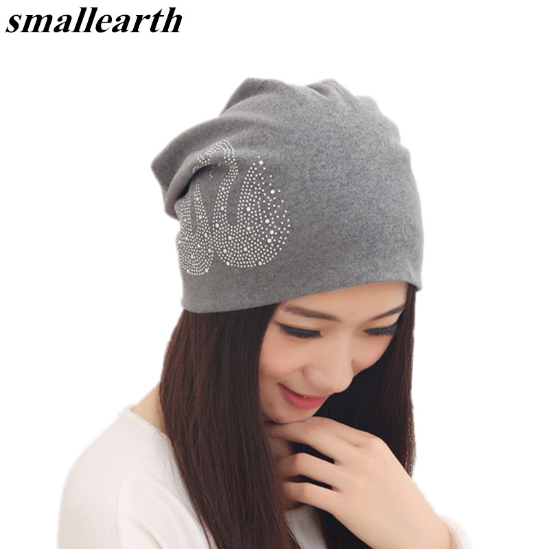 2018 Fashion cotton Hedging Caps Spring Women   Skullies     Beanies   Warm Hedging Caps Female antumn Hats Swan Diamond Pattern Hats