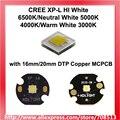 CREE XP-L HI белый 6500 K/нейтральный белый 5000K 4000 K/теплый белый 3000K светодиодный излучатель с 16 мм/20 мм DTP медь MCPCB-1 шт.