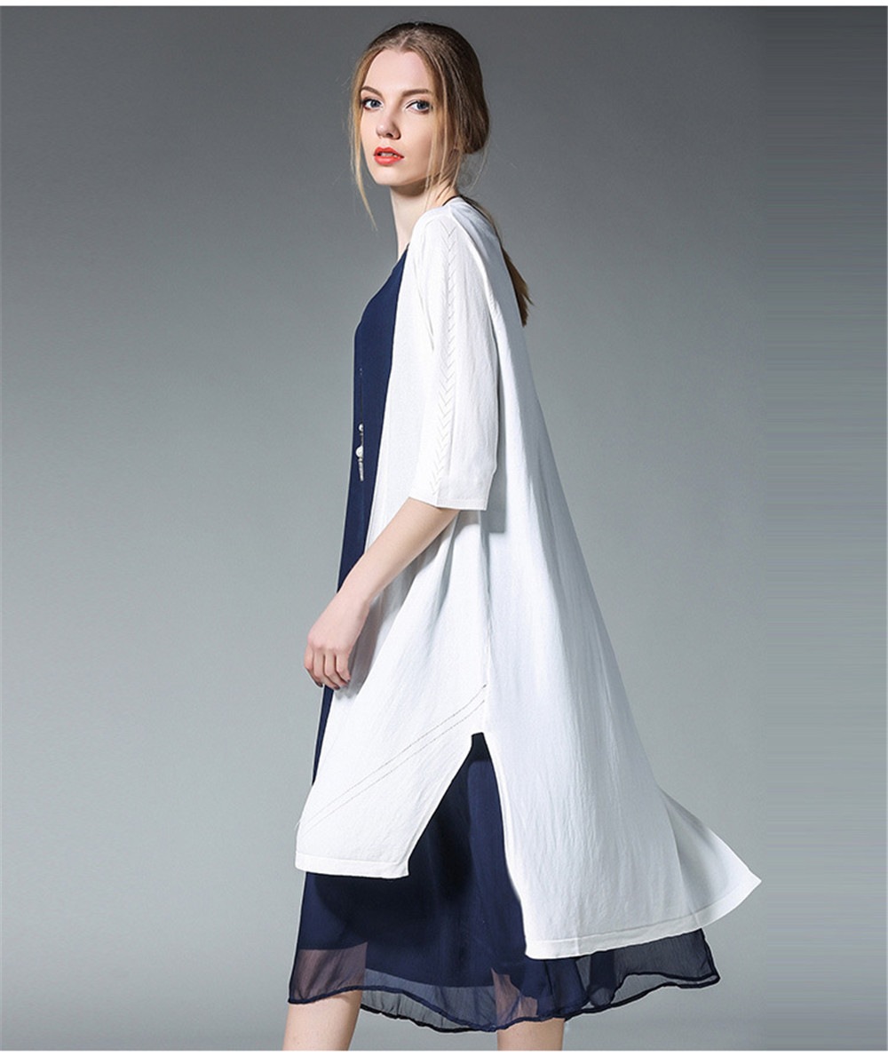 Fashion White Women Long Tank Dress 2017 New Summer Autumn Retro Sleeveless Chiffon Designs Casual Dresses Slim Plus size XXXXL 19