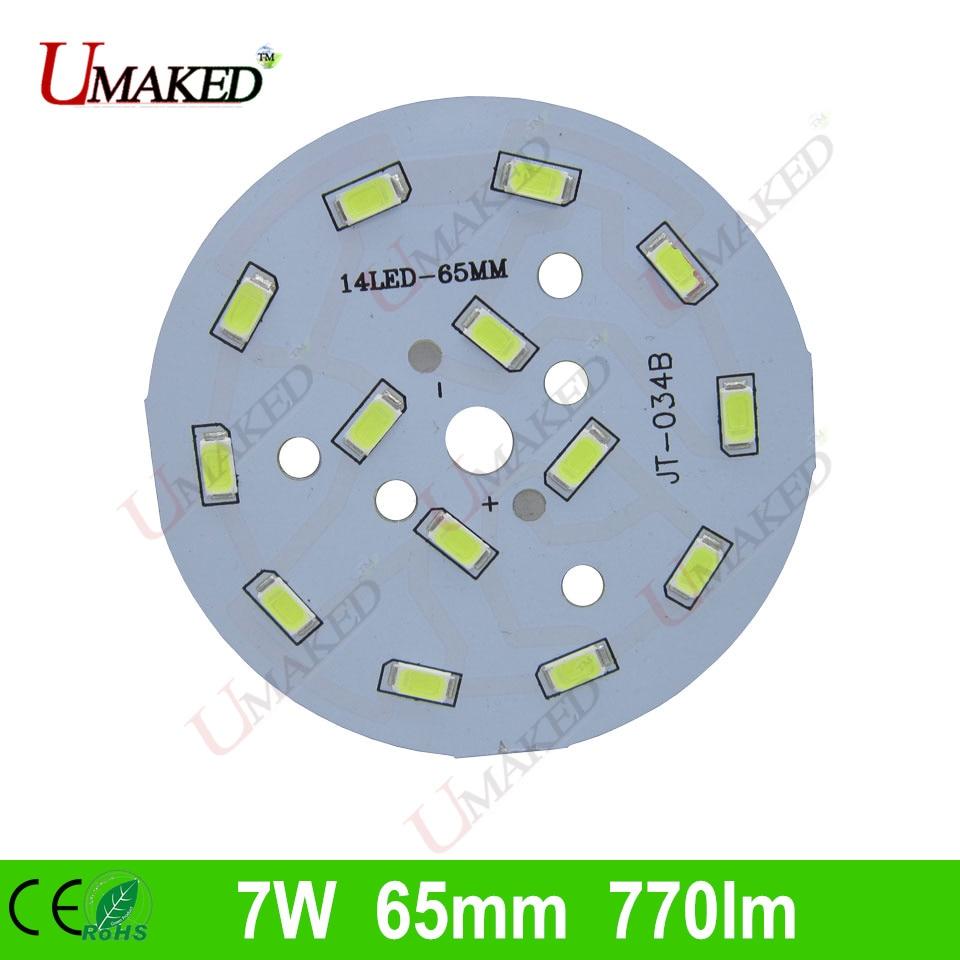 7W 65mm 770lm <font><b>LED</b></font> PCB with smd5730 chips installed, aluminum plate base for bulb light, ceiling light, <font><b>LED</b></font> lamps