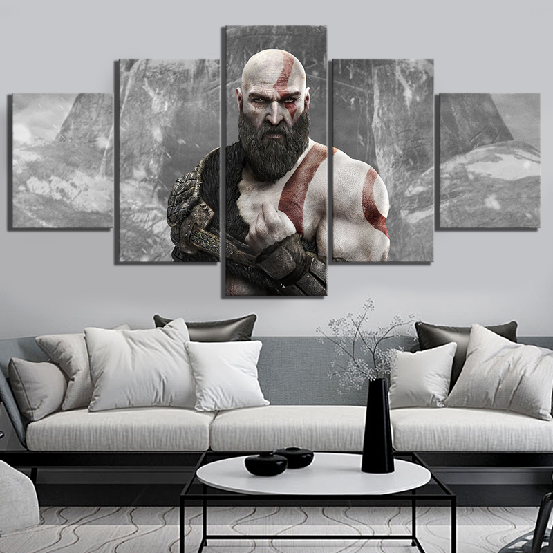 5 Panels Kratos God of War 4 ARPG Game Poster Canvas Paintings for Home Decor Wall Art image