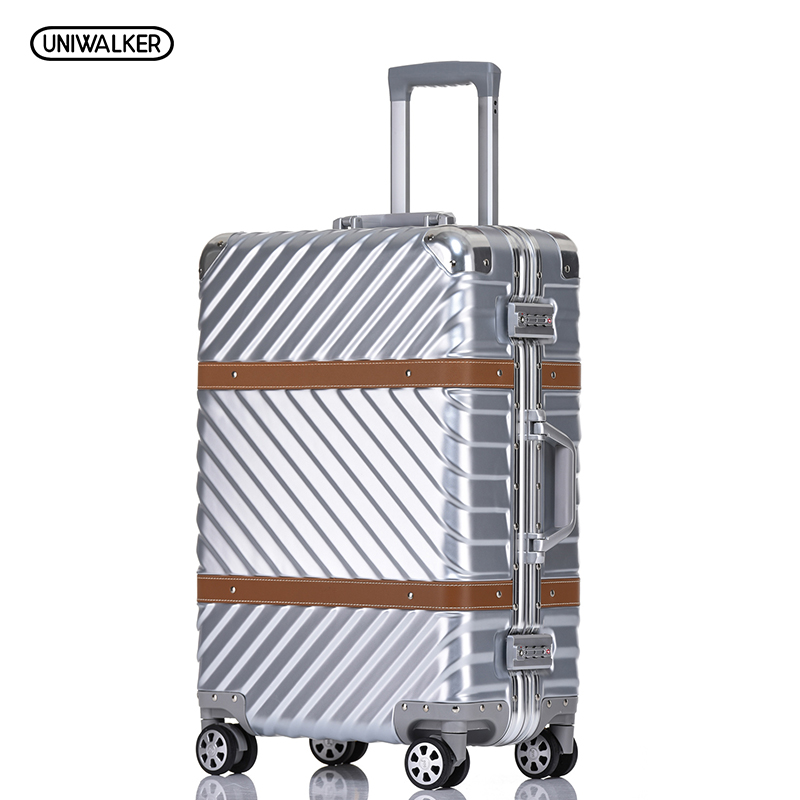 UNIWALKER 20 24 26 29 Vintage Suitcase PC+ABS Luggage Rolling Spinner Lightweight Suitcase With TSA LockUNIWALKER 20 24 26 29 Vintage Suitcase PC+ABS Luggage Rolling Spinner Lightweight Suitcase With TSA Lock
