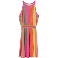 Italianism Orange Pink Yellow Gray Stripe with Gold Thread 2019 New Arrivals and The Design of Sleeveless Knitted Dress h153