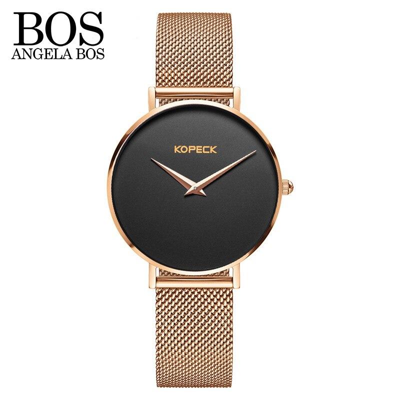 ANGELA BOS Thin 6mm Simple Europe Design Sapphire Quartz Watch Women Stainless Steel Bracelet Ladies Watches Top Brand Luxury