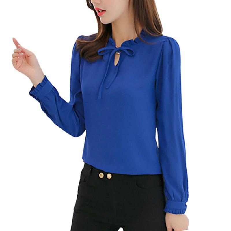 watch 08dbe 67f8c Frühling Frauen Blau Shirts Langarm Stehen Kragen Bogen Blusen Elegante  Damen Chiffon Bluse Tops Mode Büro Arbeit Tragen