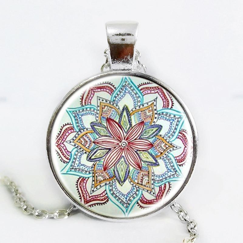 Handmade Henna Yaga collana collana gioielli in vetro foto arte OM simbolo Buddismo mandala collana ciondolo