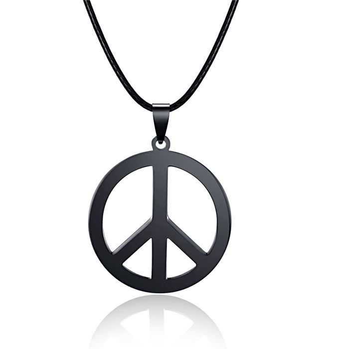 HC Trendy Stainless Steel Pendant Women Men Necklace Fashion Peace Sign World Peace Necklace Black Color Stainless Steel Charm F