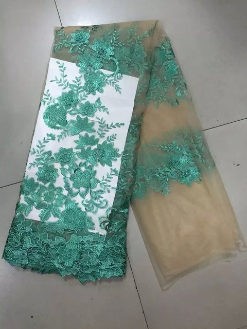 yilou-8-12 latest wholesale Africa line 2015 100% cotton lace cord fabric,high quality of African network green lace fabric!