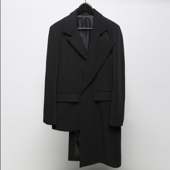 S-5xl Men Long Blazer Coat Irregular Asymmetrical Cut Black Single-breasted Casual Single West Singer Clothes Original Design