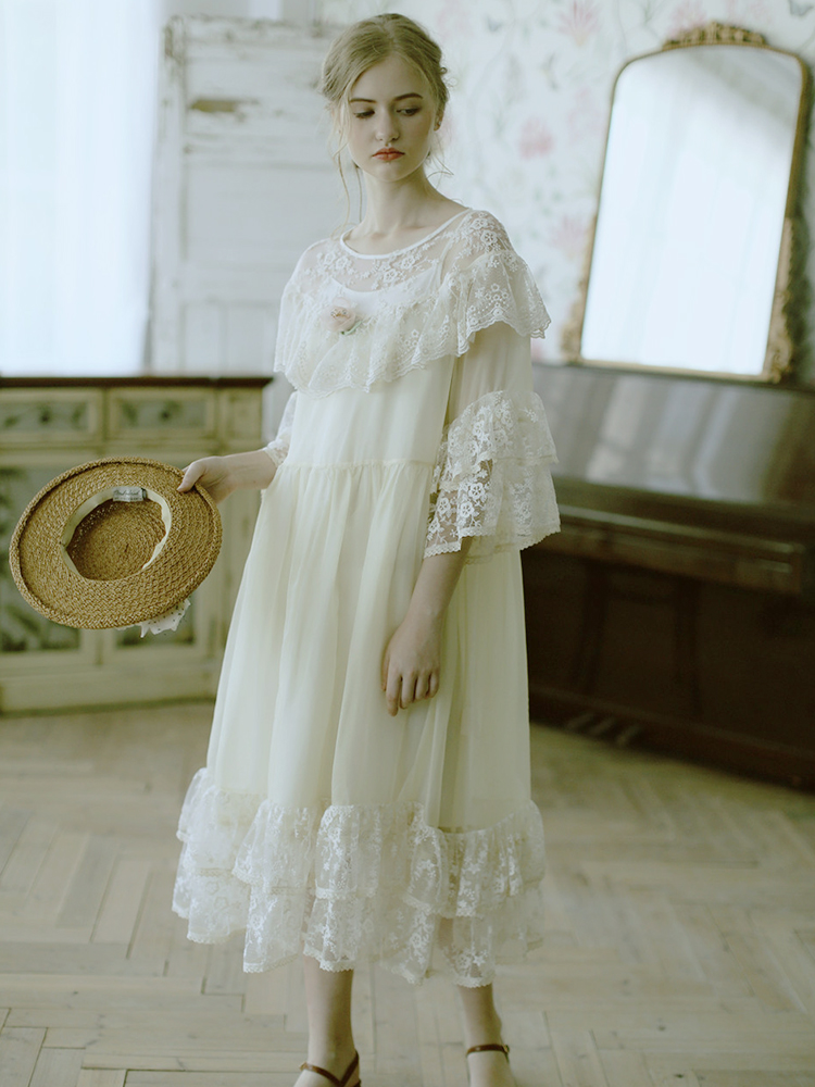 LYNETTE'S CHINOISERIE Summer Women Loose Victoria Style Vintage Lace Embroidery Dresses