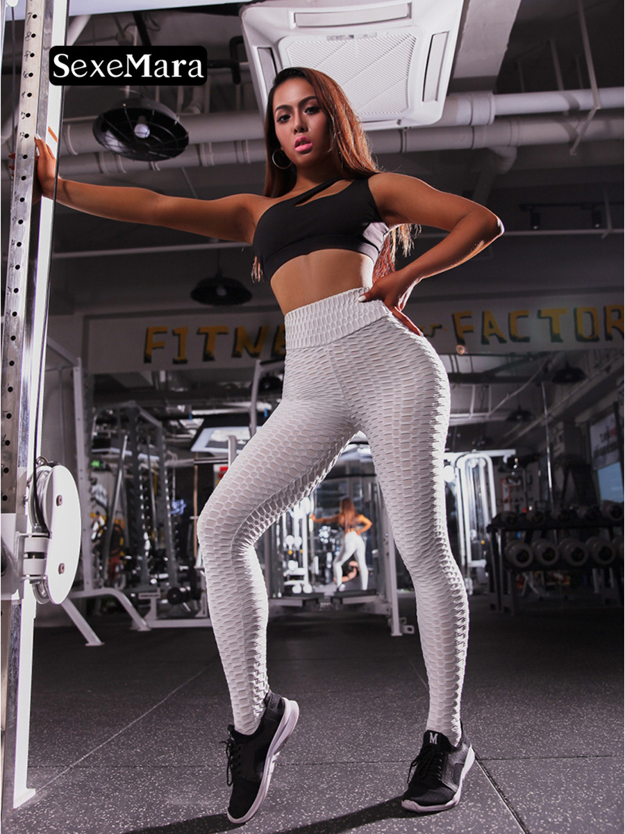 SexeMara Women Leggings Sexy Hip Push Up Leggings Workout Clothing Solid Breathable Sexy Pants Butt Lift Hips Leggings
