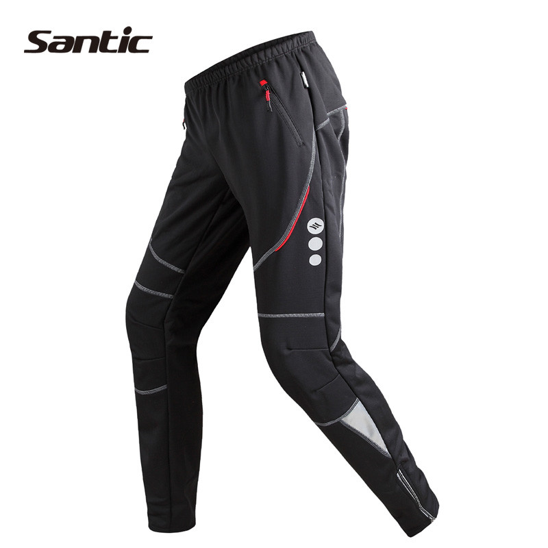 SANTIC Cycling Pants Men Winter Windproof Thermal Fleece Wind Pants Long Trousers Sports Outdoor Cycling Running Leisure Trouser