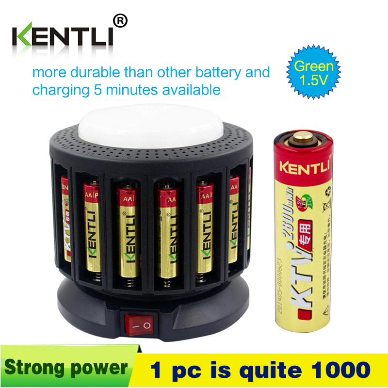 цена на KENTLI 16-slot polymer li-ion lithium batteries charger + 16 pcs polymer li-ion batteries AA / AAA rechargeable batteries