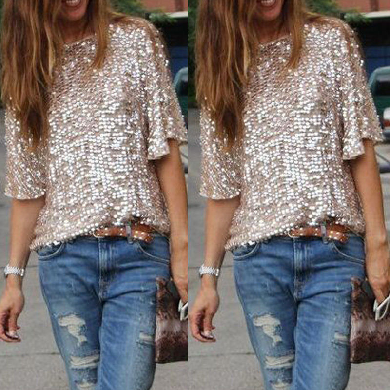 e0950997 New Summer Shirt Women Pullover Tops Half Sleeve Loose Casual Sequined  Cocktail Party Glitter Sparkle Sexy Blouse