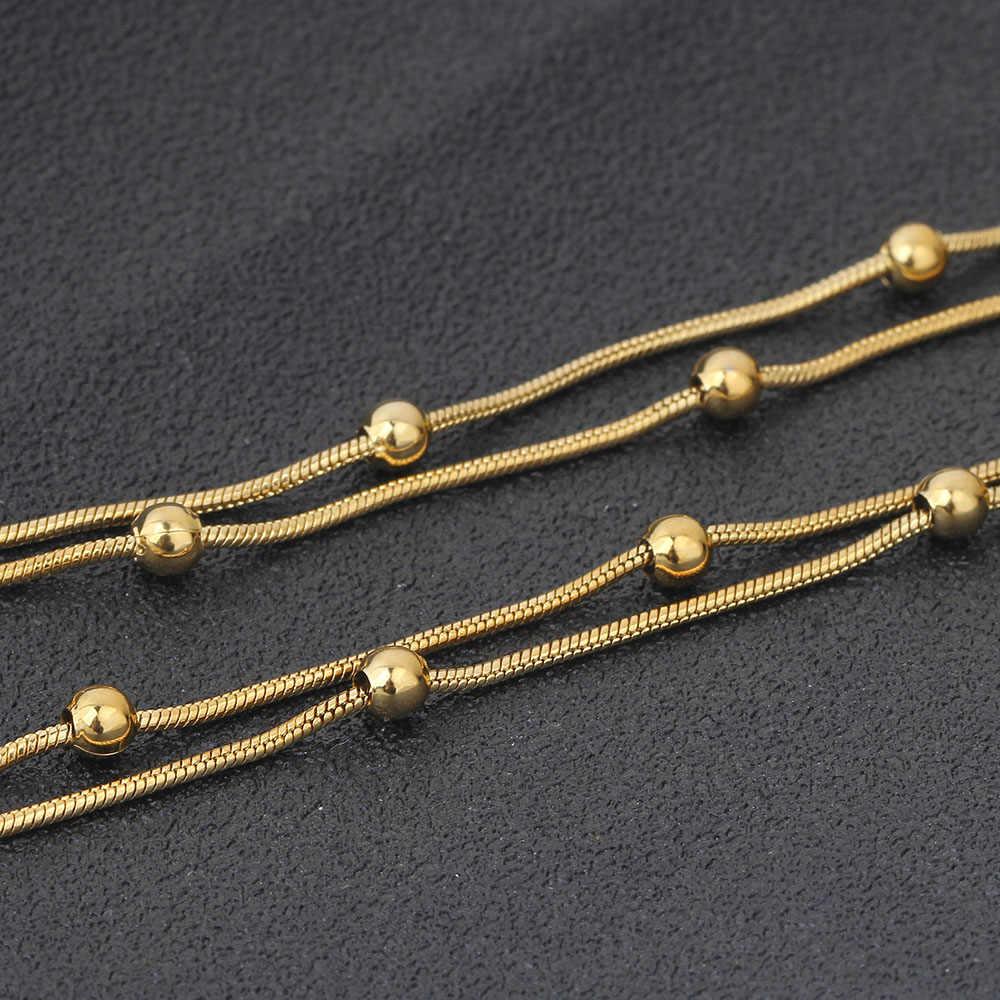 NIBA 316L ze stali nierdzewnej złoty kolor okrągła kula wisiorek naszyjnik Link Chain naszyjnik moda biżuteria dla kobiet lub mężczyzn