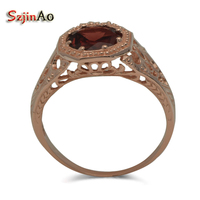szjinao New Arrival Natural garnet 14k Gold Ring Fashion Wedding Rose Gold Jewelry Rings for Women Wedding Decoration Wholesale