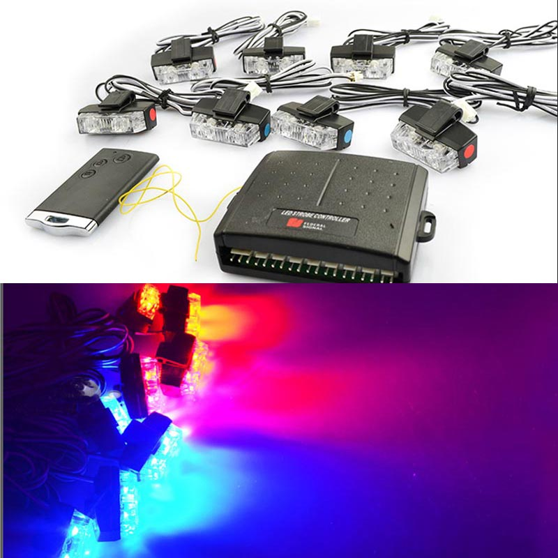 Wireless Red Blue White Amber 8x 2 LED 16LED Flash Emergency Strobe Car Grill Light Ultra Bright 48W High Power Light