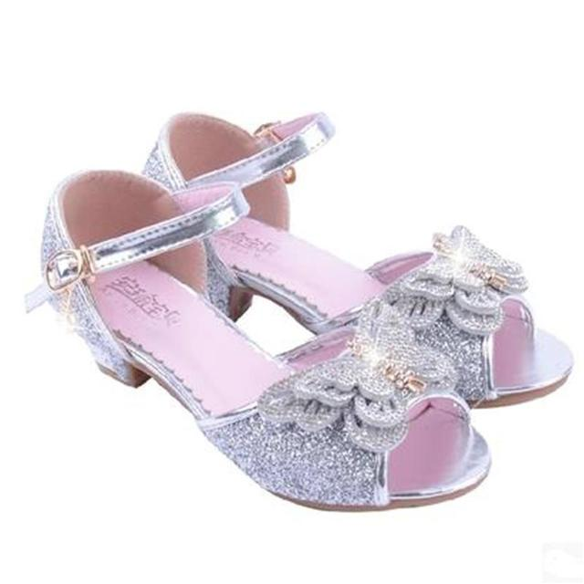 bf85195e8 HaoChengJiaDe Kids Party Shoes Blue Pink Silver Bling Bling Girls Fancy  Sandals Wedding Fashion Elegant Dress Shoes For 4-12Year