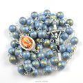 Franch catholic rosary Our Lady of Lourdes with round mottled acrylic bead
